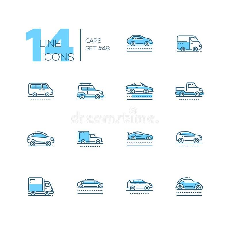 汽车-套线设计样式蓝色象 库存例证