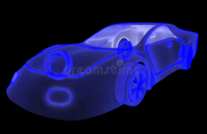 汽车3d设计的发光的wireframe。 皇族释放例证