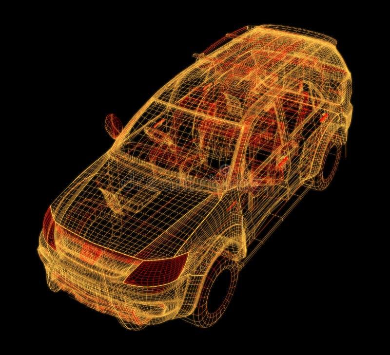 汽车3d设计的发光的wireframe 皇族释放例证