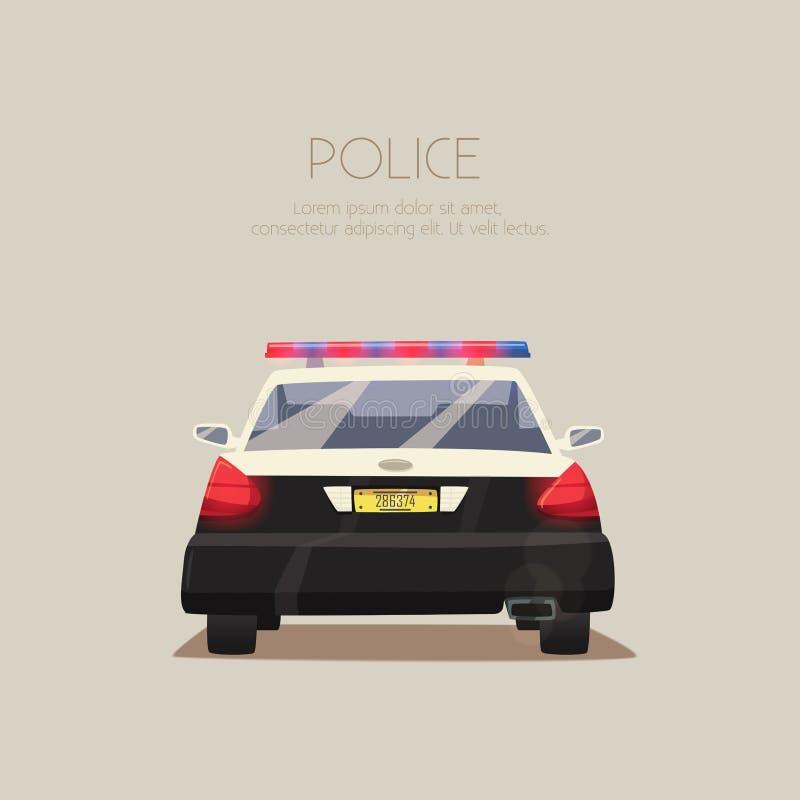 汽车cartoonish图象查出的警察样式白色 男孩动画片不满意的例证少许向量 库存例证