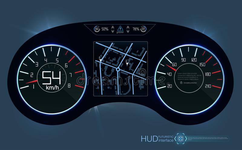 汽车HUD仪表板 抽象真正图表接触用户界面 未来派用户界面HUD和Infographic 向量例证