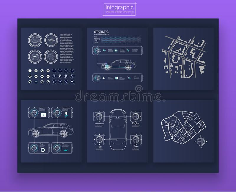 汽车infographic数字式例证 仪表板题材创造性infographic 库存例证