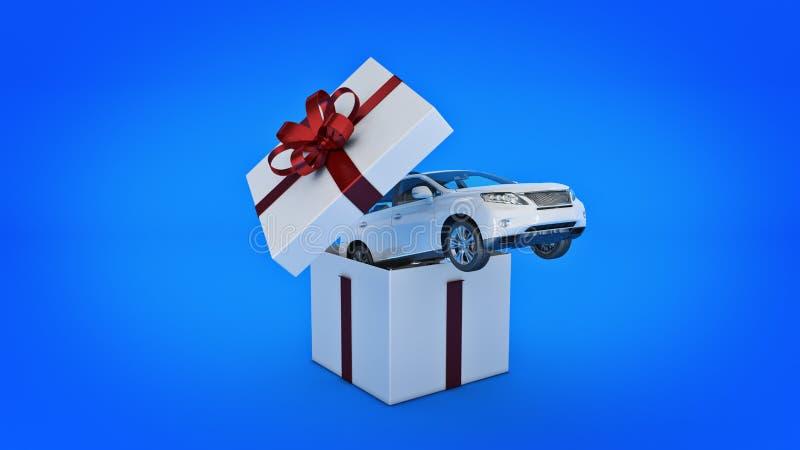 汽车SUV小轿车 礼物盒概念 皇族释放例证