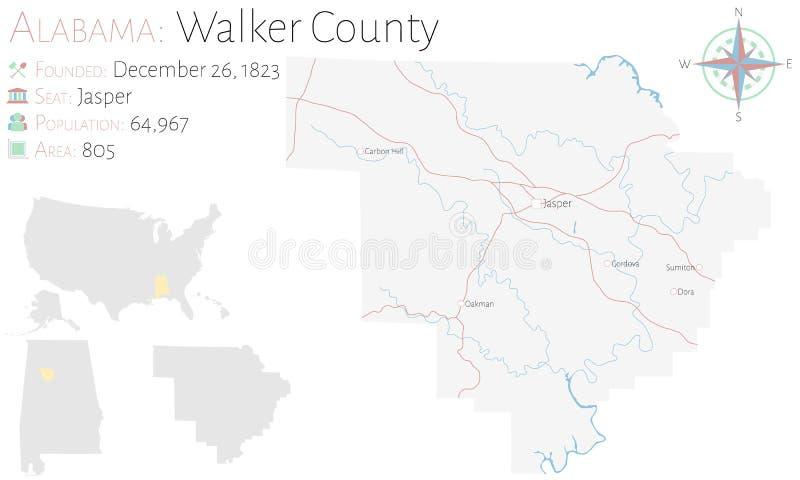 沃克县地图在阿拉巴马 皇族释放例证