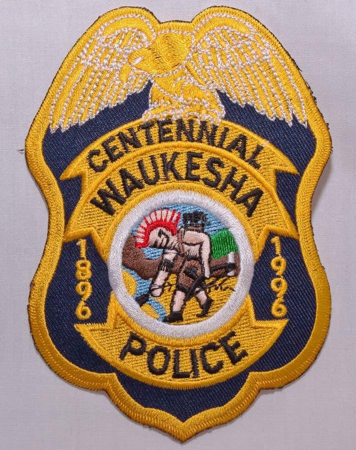 沃基肖警察局的肩章在威斯康辛 图库摄影