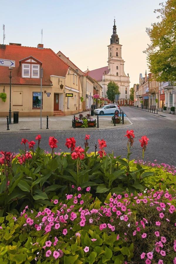 沃尔什滕,波兰- 2017年8月27日:Koscielna街的教区教堂 免版税库存照片