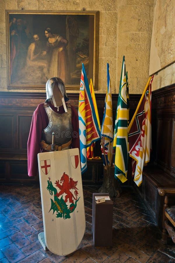 沃尔泰拉的Priori Pallace是托斯卡纳最古老的市政厅 免版税库存图片
