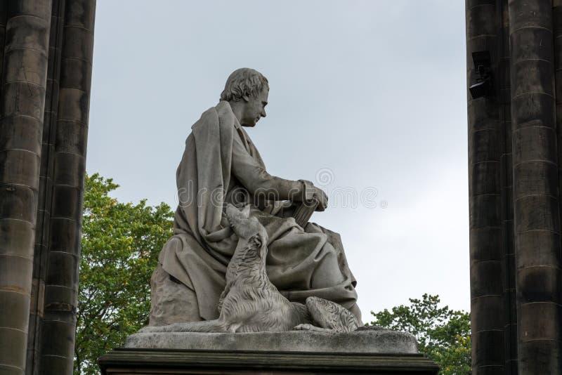 沃尔特・司各特先生大理石象在斯科特纪念碑的在Edinb 库存图片