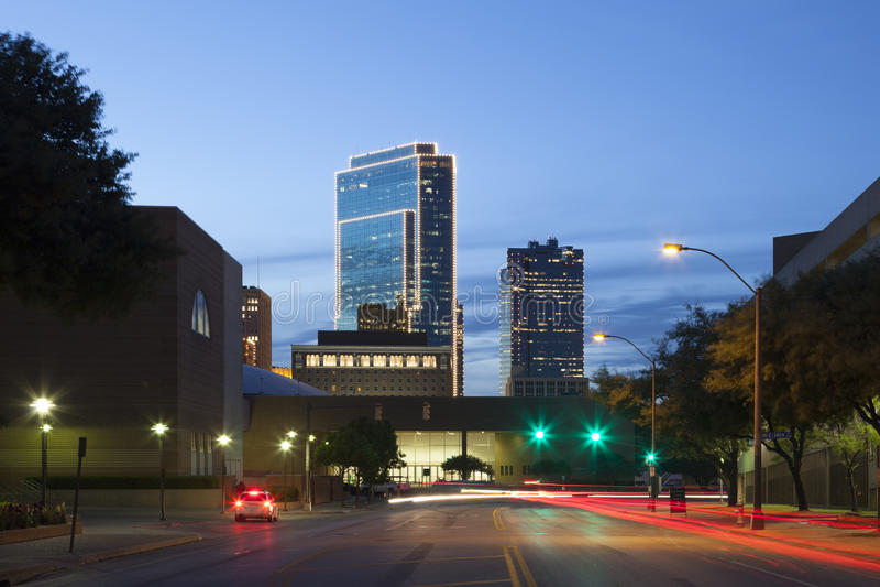 沃思堡在晚上 得克萨斯,美国 免版税库存图片