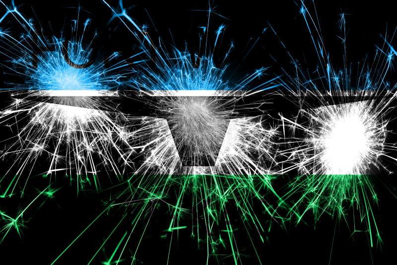 沃思堡,得克萨斯烟花闪耀的旗子 新年、圣诞节和国庆节概念 美国状态团结了 向量例证