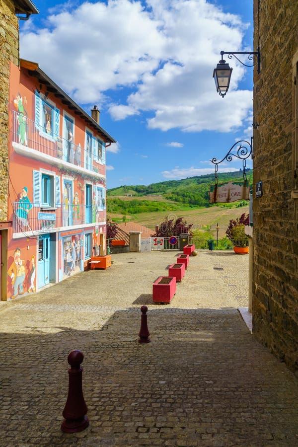 沃村en博若莱红葡萄酒 在博若莱红葡萄酒,罗讷部门 免版税图库摄影