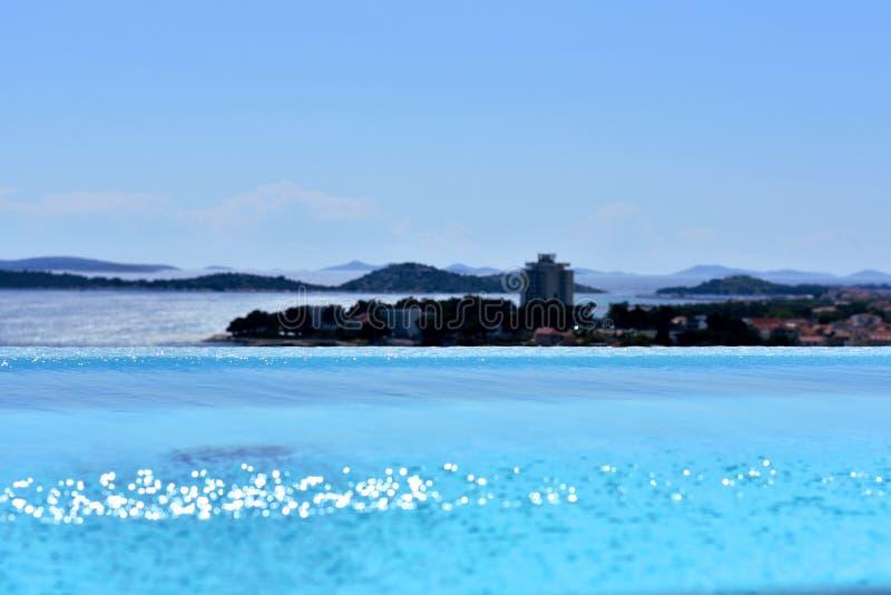 沃迪采,克罗地亚- 5 24 2019年:无限水池在奥林匹亚天空旅馆, 库存照片