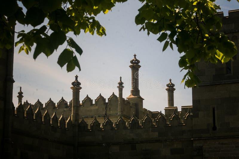 沃龙佐夫宫殿屋顶看法通过树在克里米亚 免版税图库摄影