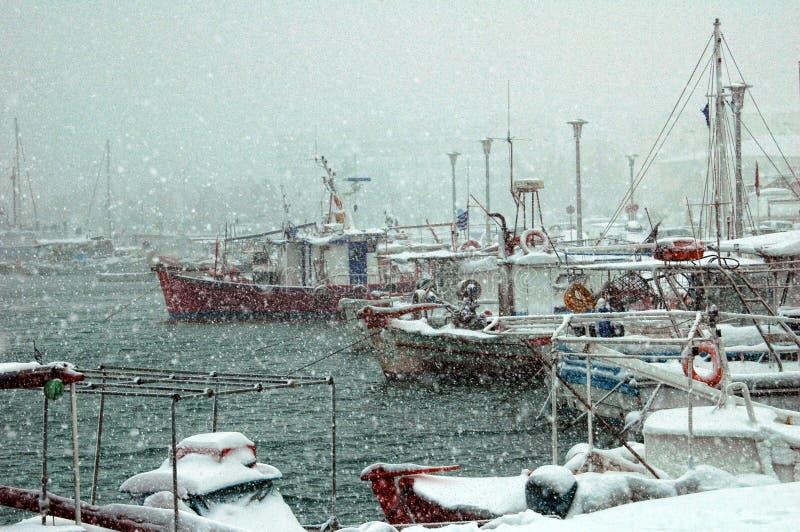 沃洛斯希腊港  免版税库存照片