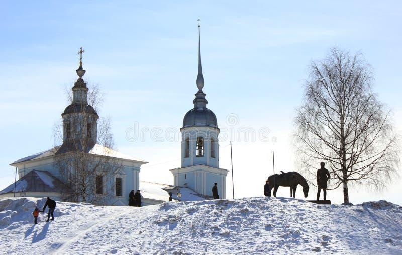 沃洛格达州在冬天,俄罗斯 免版税库存照片