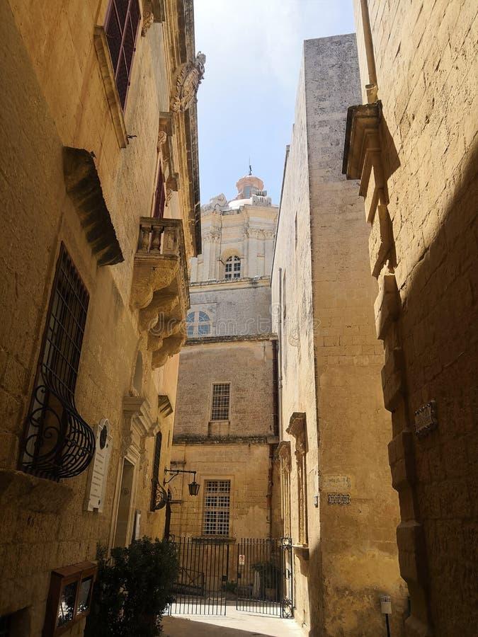 沈默城市在马耳他-姆迪纳 免版税图库摄影