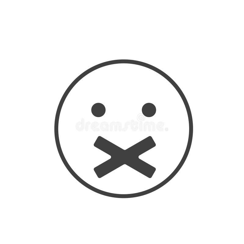 沈默象 与横渡的嘴的面孔 沈默标志 向量例证
