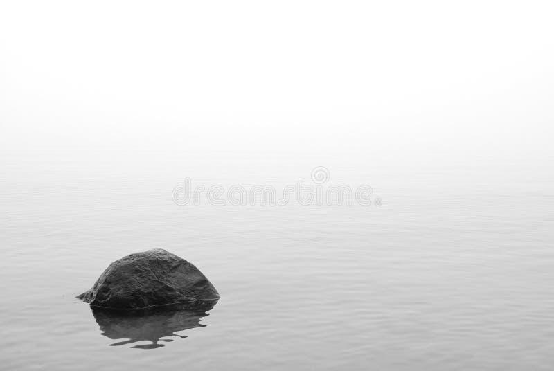 沉寂 在海shallows的石头 免版税库存照片