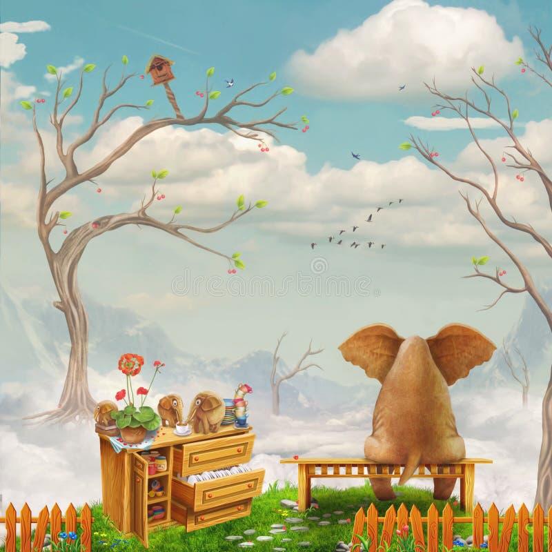 在一条长凳的大象在天空 向量例证