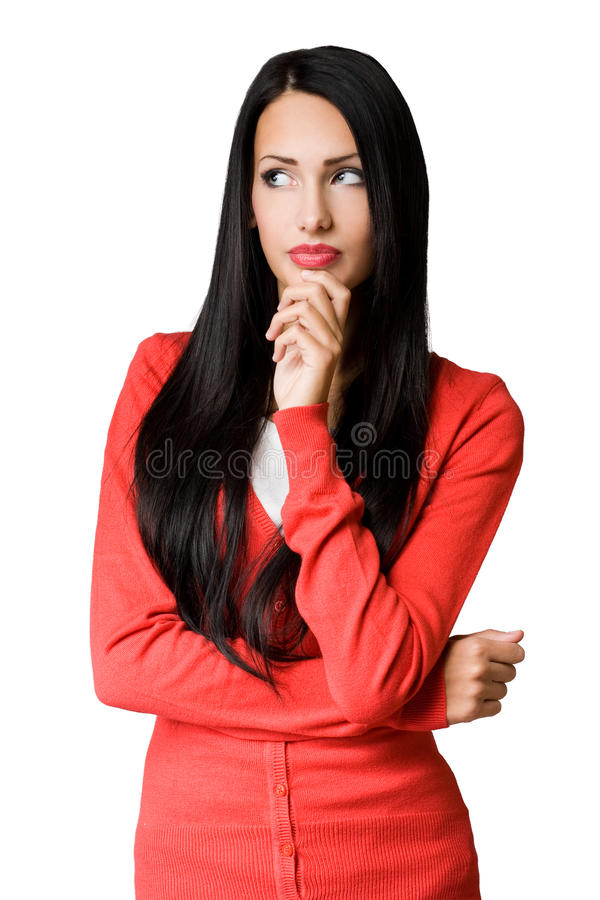 沉思姿势的新女商人。 图库摄影