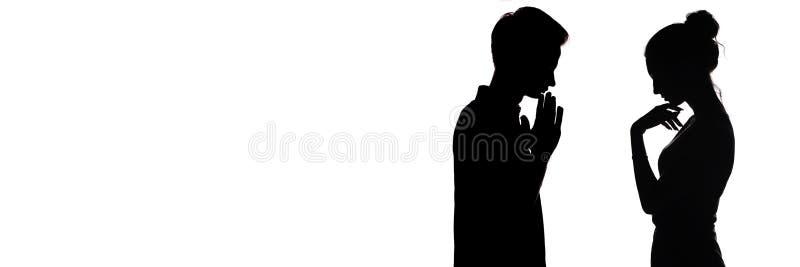 沉思年轻人剪影档案和妇女在彼此,生气男孩和爱对面的女孩、概念和关系 向量例证