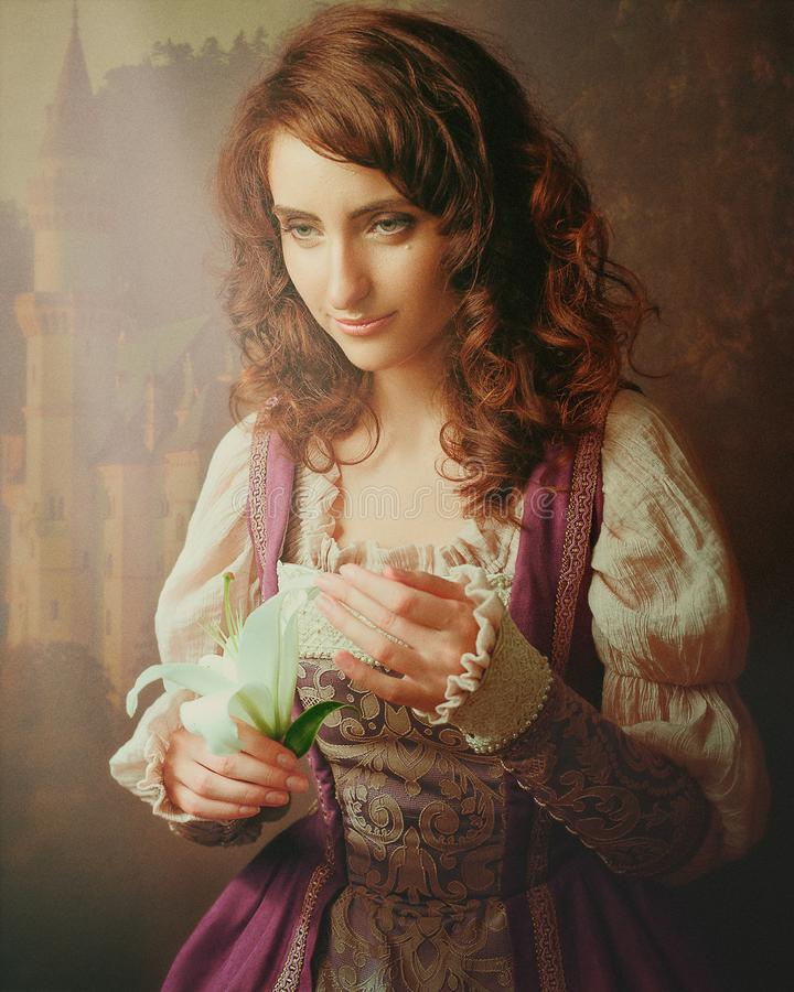 沉思故事 带礼花的女性肖像 库存图片