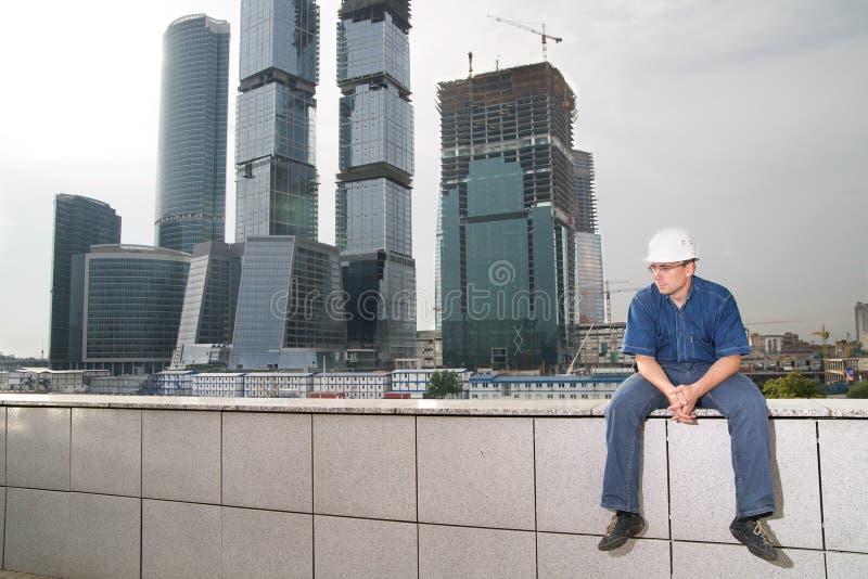 沉思的建筑师 库存照片