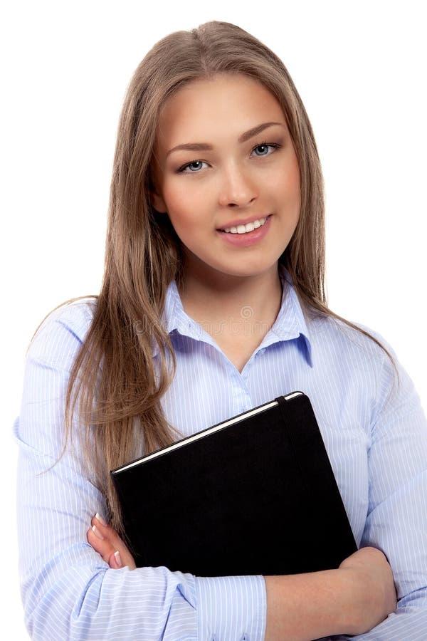 沉思年轻女实业家 免版税库存照片