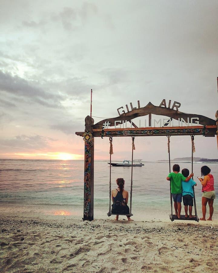 沉溺于Gili海岛日落 免版税图库摄影
