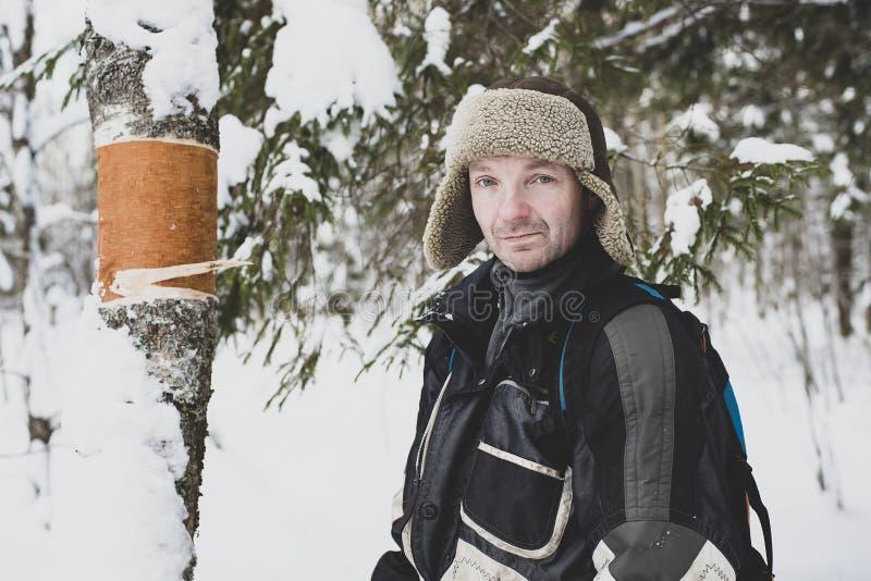 沉闷的雄性森林人想知道,谁能从冬季森林的桦树树干上除去树皮 图库摄影