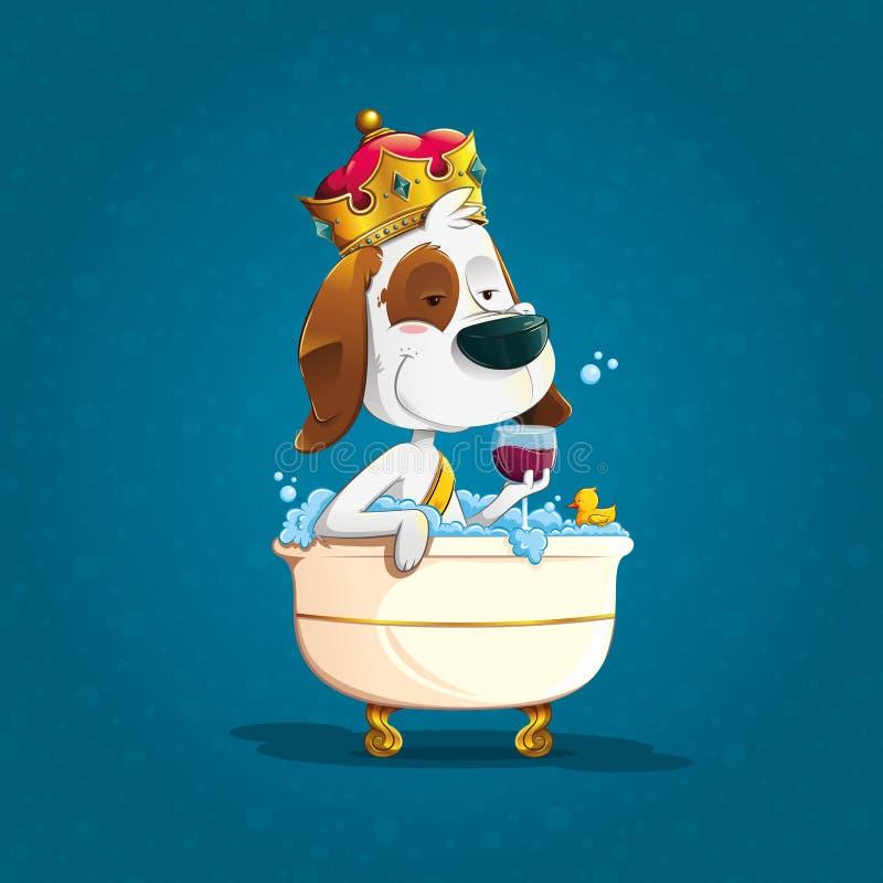 沐浴与冠的典雅的狗在一个老浴缸 向量例证