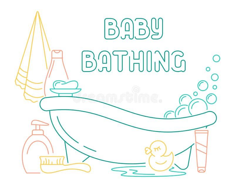 沐浴卡片的婴孩 皇族释放例证