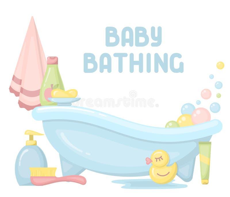 沐浴卡片的婴孩 库存例证