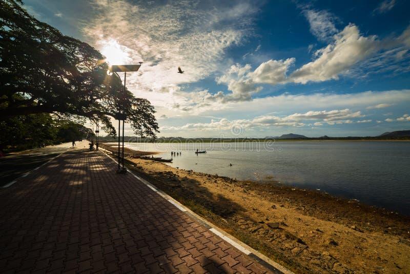 沐浴和钓鱼在Tissamaharama Tissa湖在斯里兰卡 Beuatful湖 免版税库存照片