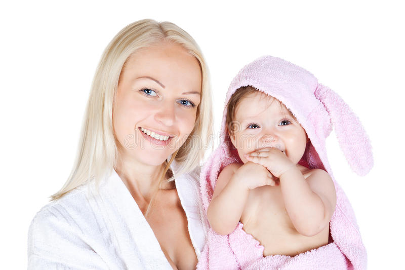 沐浴女儿母亲小的年轻人 免版税库存图片