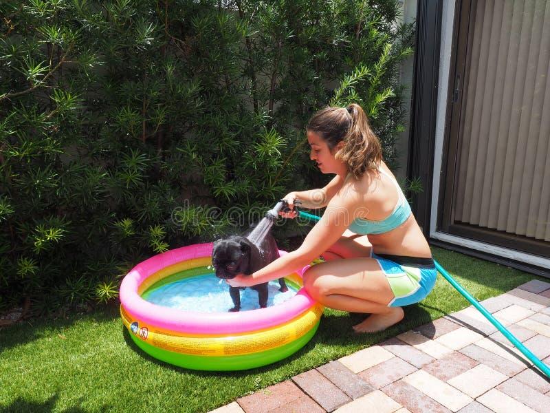 沐浴她的黑哈巴狗的年轻女人在一个五颜六色的可膨胀的水池 免版税库存图片