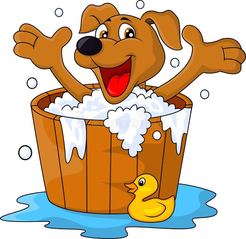 沐浴时间的狗 向量例证