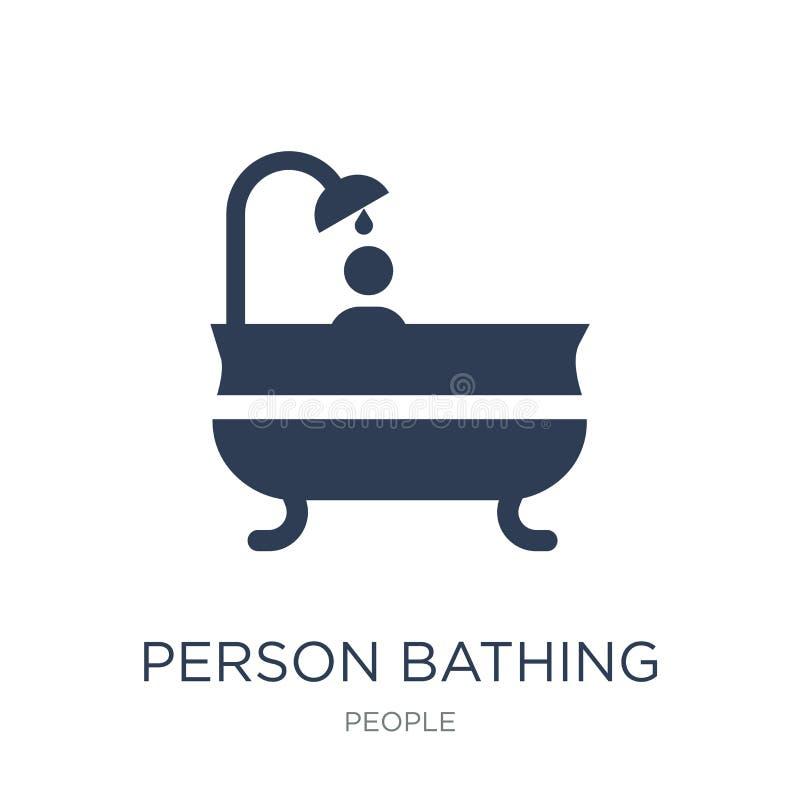 沐浴象的人 沐浴在w的时髦平的传染媒介人象 皇族释放例证
