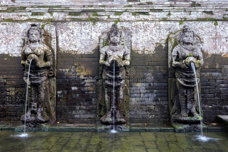 沐浴在果阿Gajah圣所的寺庙形象 免版税库存照片