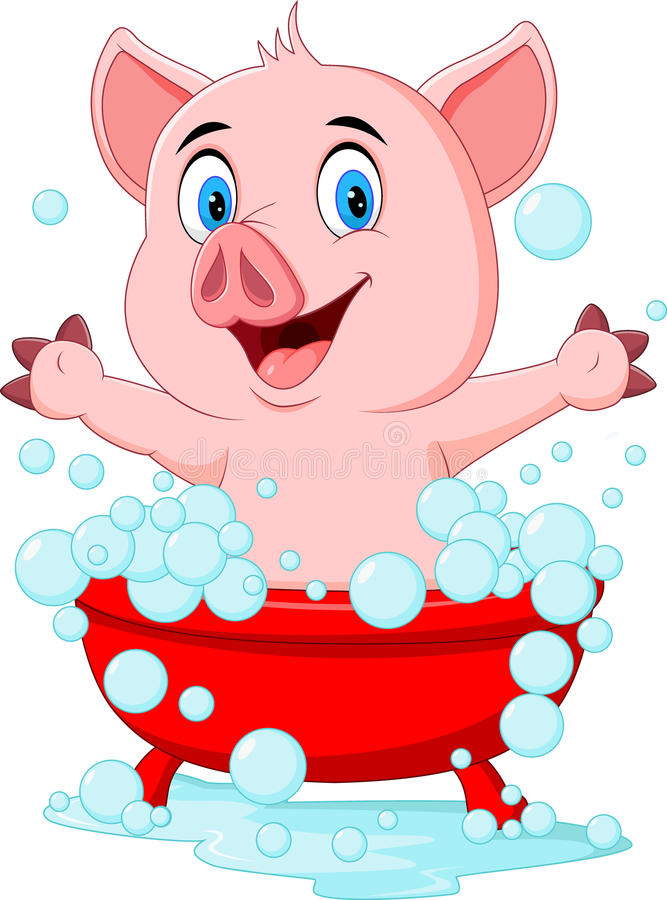 沐浴挥动的手的动画片猪 皇族释放例证