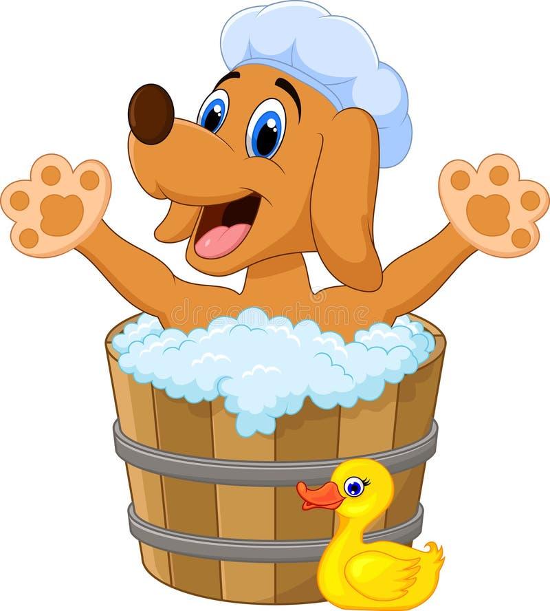 沐浴时间的动画片狗 向量例证
