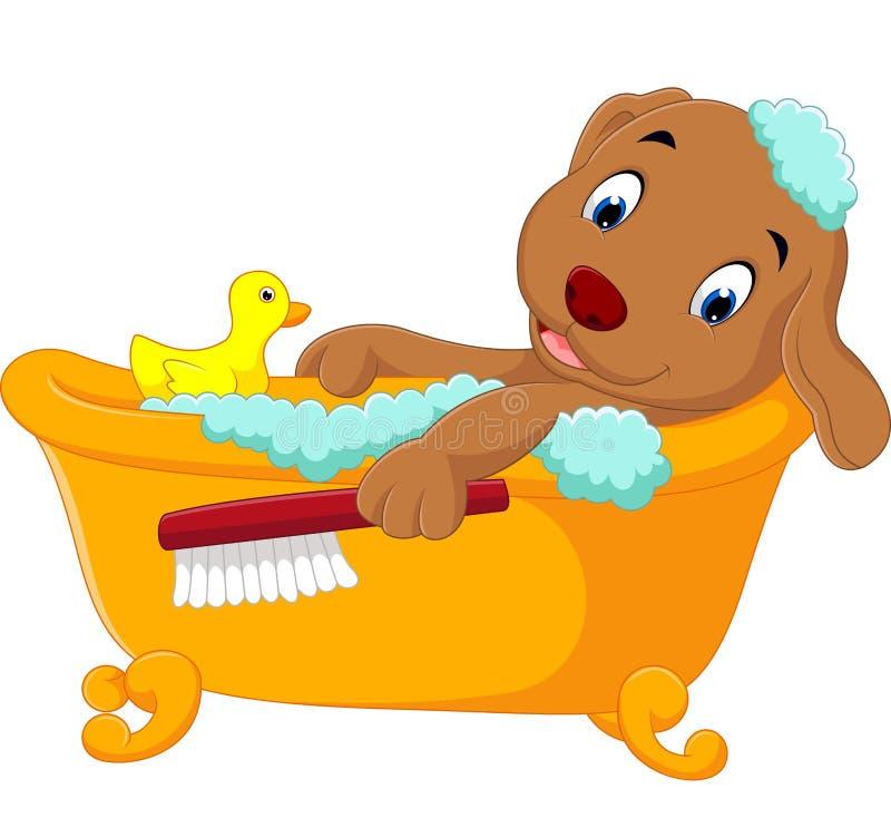沐浴时间的逗人喜爱的狗 向量例证