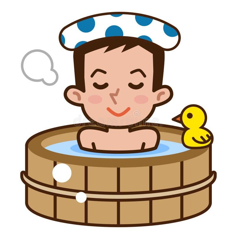 沐浴的人 向量例证