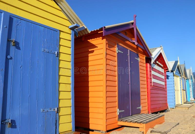 沐浴箱子的五颜六色的布赖顿在墨尔本,澳大利亚 免版税库存图片