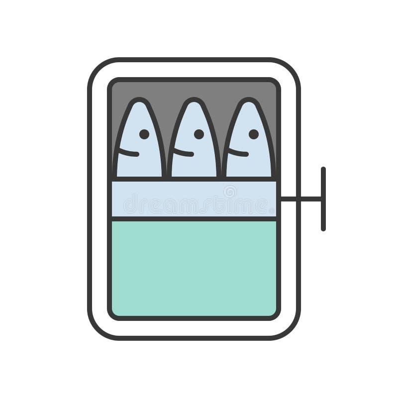 沙丁鱼装饵料,食物于罐中,并且美食术集合,填装了outlin 库存例证