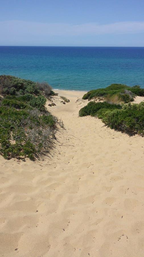 沙丘和海的图象在撒丁岛意大利的海岛上 库存图片