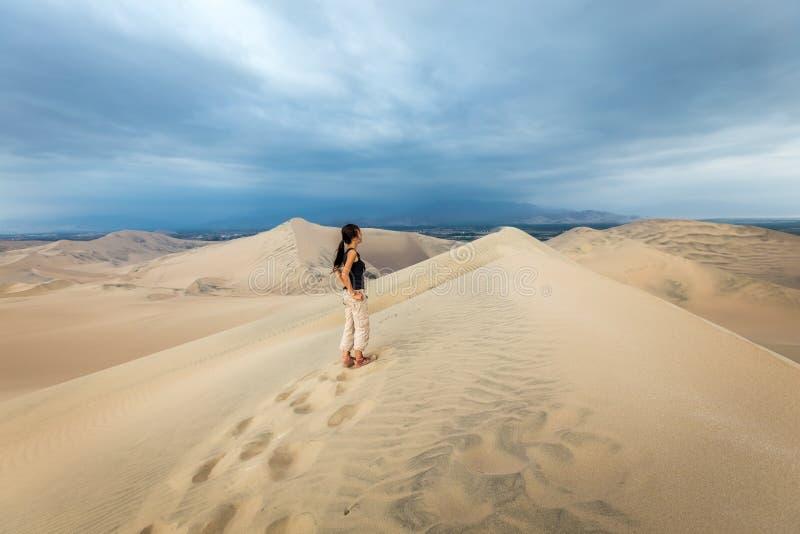 沙丘在Huacachina沙漠,伊卡大区 免版税库存图片