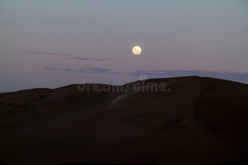 沙丘在Huacachina,秘鲁附近的沙漠 月亮是risin 免版税库存图片