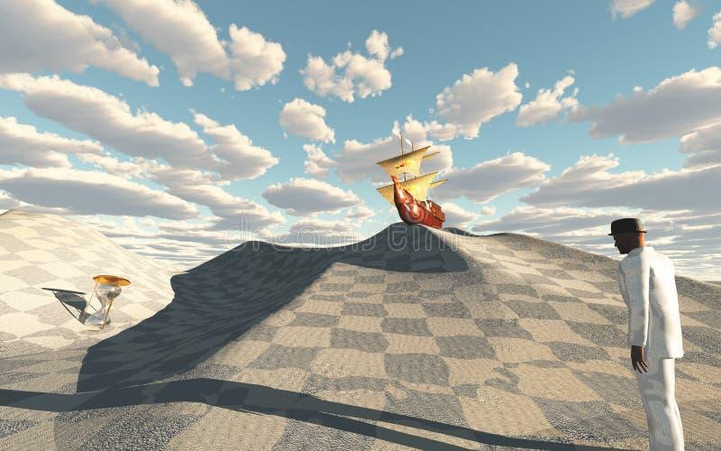 沙丘的船冠在棋盘沙漠 皇族释放例证