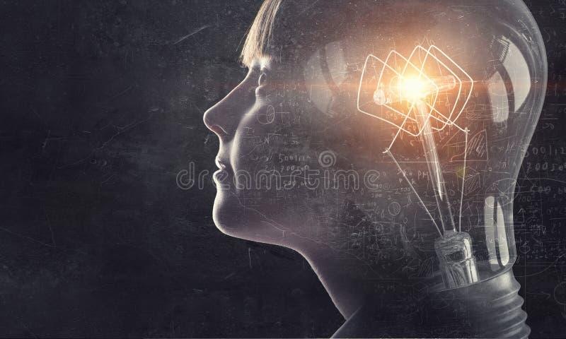 沙公有明亮的头脑 混合画法 免版税库存照片
